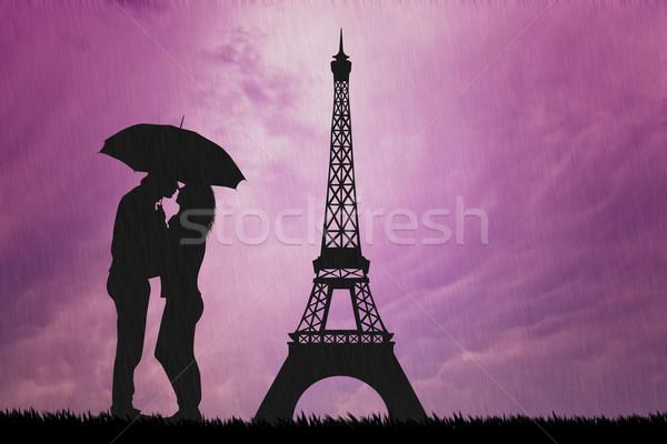 Szerelmespár Párizs eső illusztráció kettő szeretet Stock fotó © sognolucido