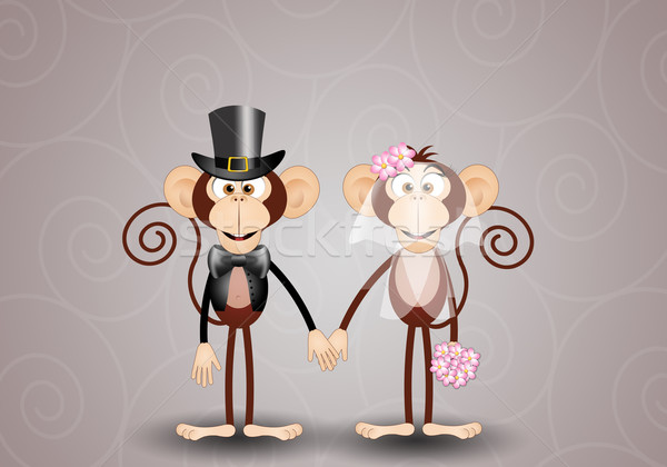 Majmok illusztráció pár friss házasok esküvő szeretet Stock fotó © sognolucido