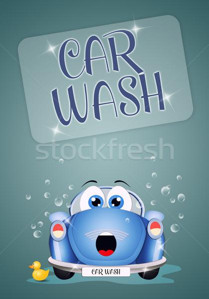 Divertente auto lavaggio illustrazione car wash acqua Foto d'archivio © sognolucido