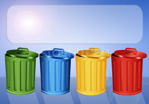 Garbage bins for recycling Stock photo © sognolucido