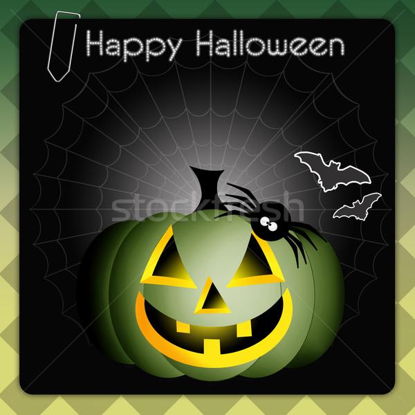 Mutlu cadılar bayramı kabak halloween şapka kutlama cadı Stok fotoğraf © sognolucido