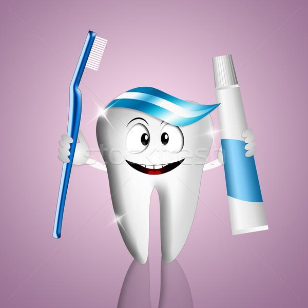 面白い 歯 実例 歯磨き粉 歯ブラシ 笑顔 ストックフォト © sognolucido
