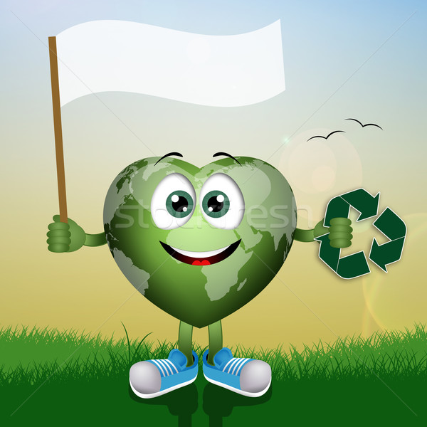 Green globe with recycle symbol Stock photo © sognolucido