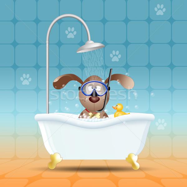 Hond bad duiken masker badkamer honden Stockfoto © sognolucido