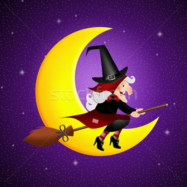 Witch on broom Stock photo © sognolucido