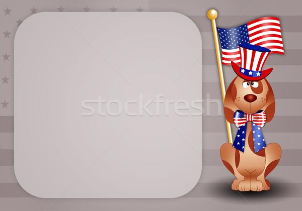 幸せ 日 面白い 犬 アメリカン 帽子 ストックフォト © sognolucido