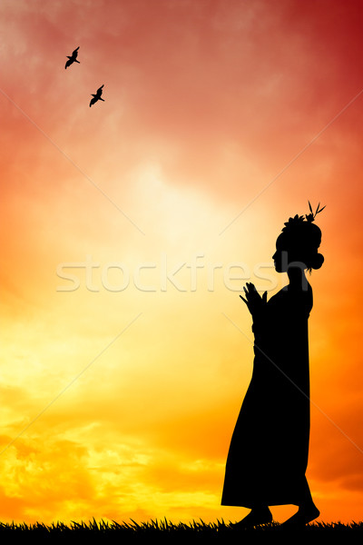 Thai dance at sunset Stock photo © sognolucido