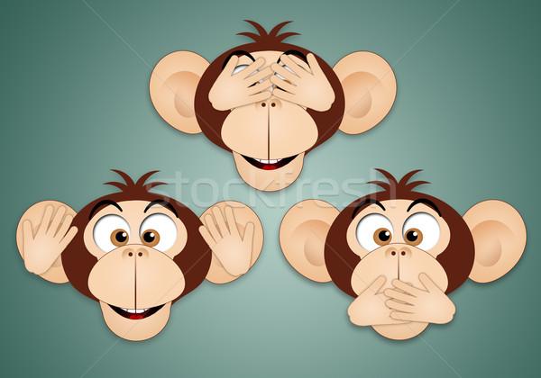 Tres sabio monos funny religión concepto Foto stock © sognolucido