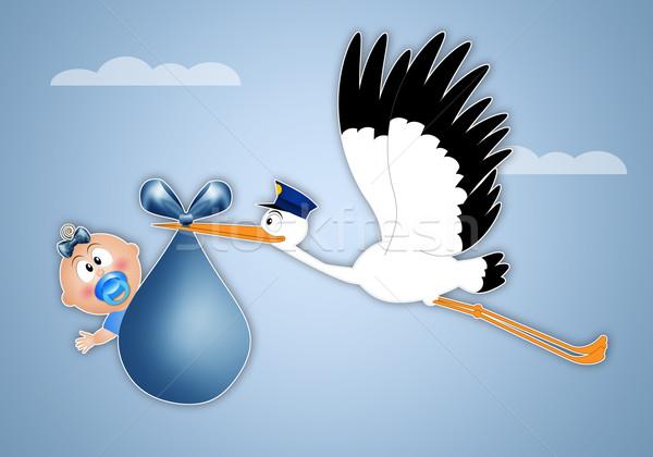 аистов мальчика ребенка ребенка птица Сток-фото © sognolucido