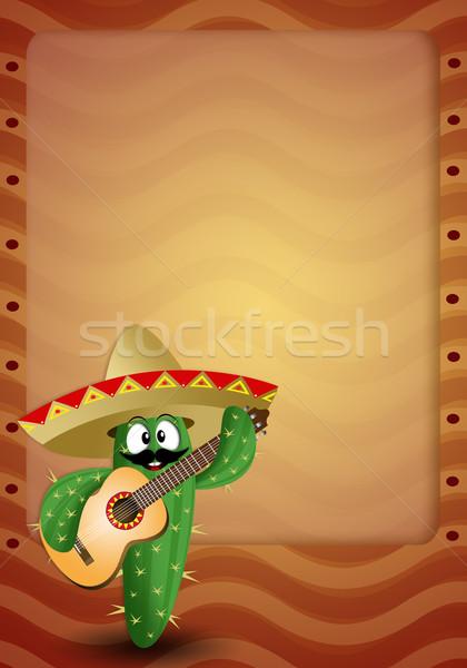 Kaktüs geniş kenarlı şapka gitar örnek seyahat tatil Stok fotoğraf © sognolucido