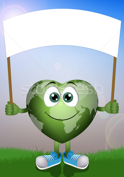 Funny green earth  Stock photo © sognolucido