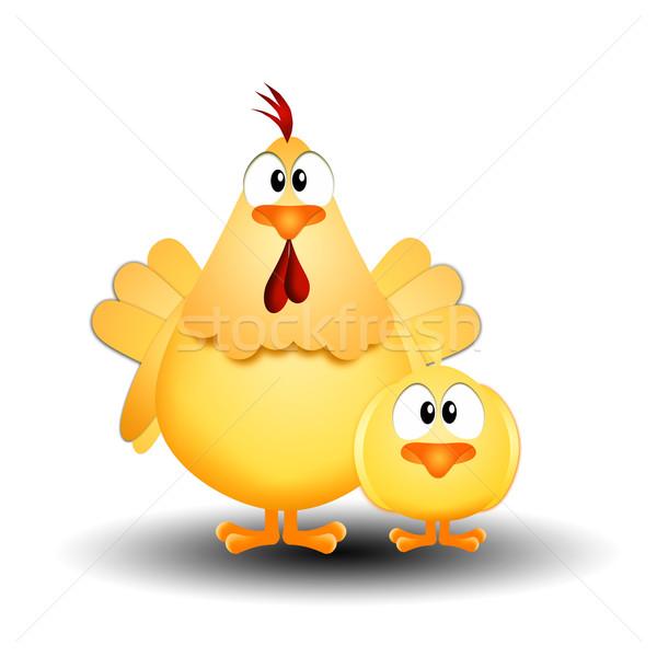 Henne chick Illustration Ostern Frühling Huhn Stock foto © sognolucido