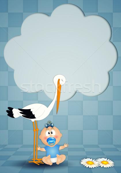 Cartolina cicogna ragazzo baby bambino Foto d'archivio © sognolucido