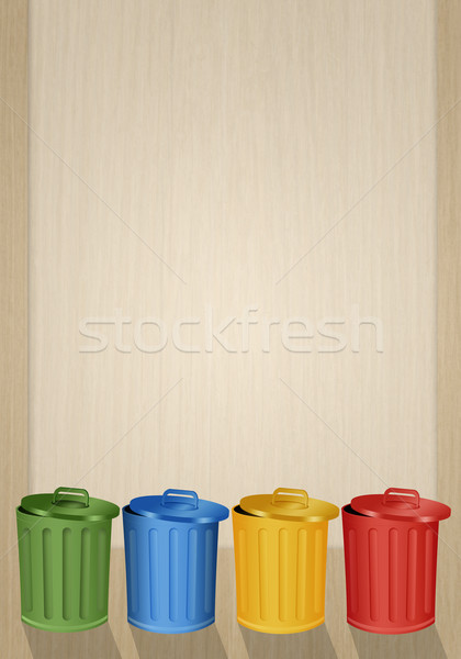 Colorful garbage bins for recycle Stock photo © sognolucido