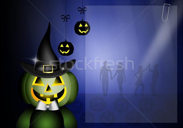 Szczęśliwy halloween strony dynia maska hat Zdjęcia stock © sognolucido