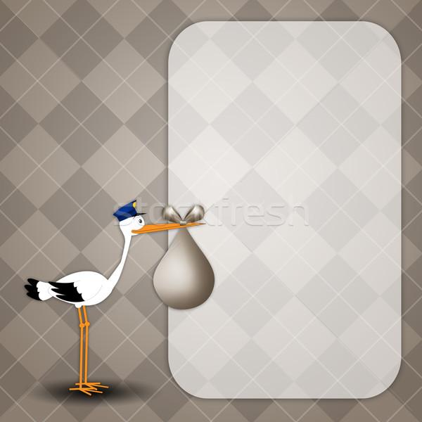 аистов ребенка рождения ребенка открытки птица Сток-фото © sognolucido