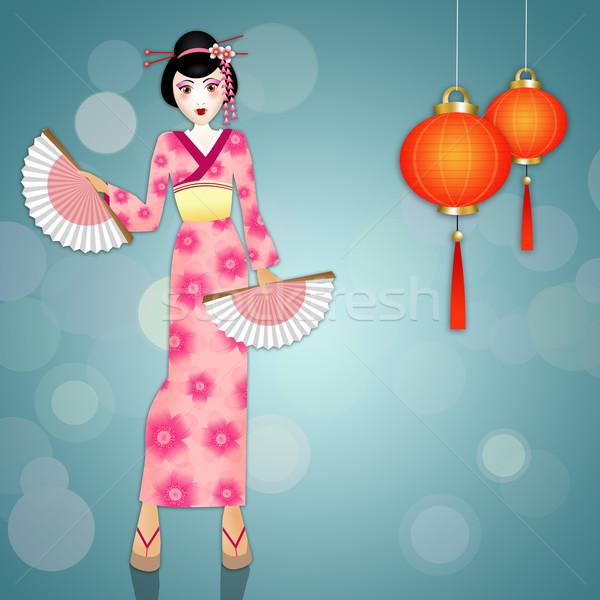 Gésa kínai lámpások kimonó nő arc Stock fotó © sognolucido