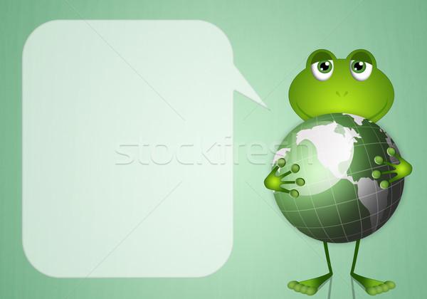 Kurbağa gezegen örnek komik yeşil toprak Stok fotoğraf © sognolucido