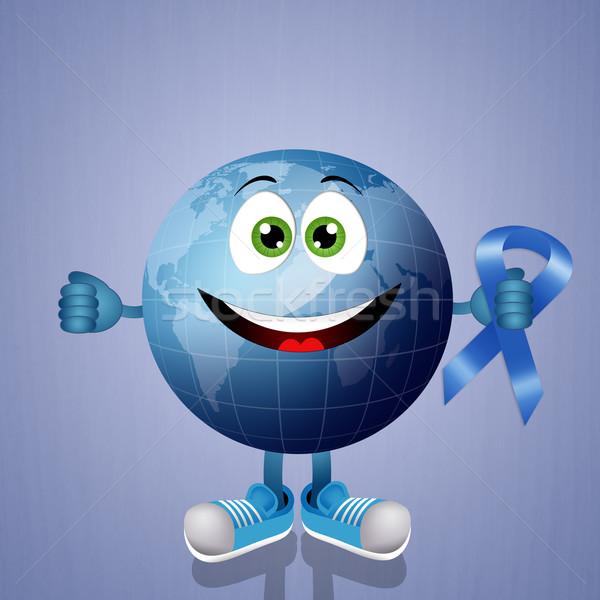 синий земле осведомленность лента иллюстрация мира Сток-фото © sognolucido