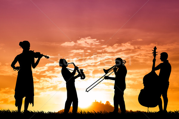 Muzikanten zonsondergang illustratie silhouet natuur leuk Stockfoto © sognolucido