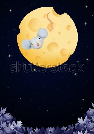 Család nyulak éjszaka húsvét virág levél Stock fotó © sognolucido