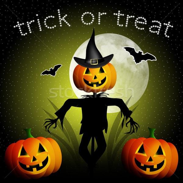 Szczęśliwy halloween ilustracja strach na wróble pająk Zdjęcia stock © sognolucido