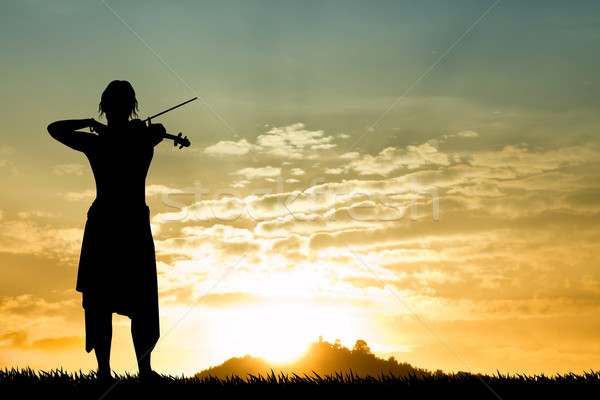 Stock fotó: Hegedűművész · naplemente · illusztráció · nő · természet · jókedv