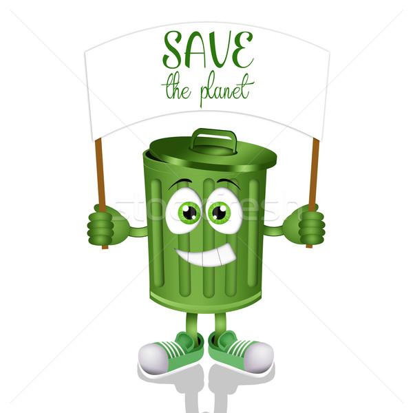 Funny garbage bin for save planet Stock photo © sognolucido