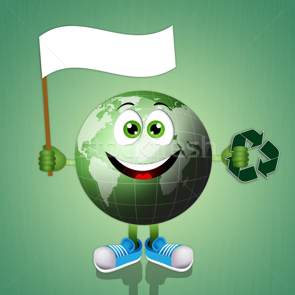 Funny smiling green earth Stock photo © sognolucido