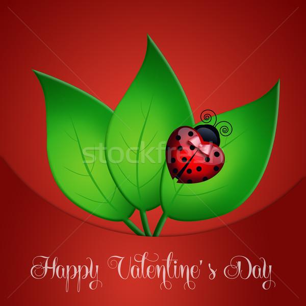 Mutlu sevgililer günü uğur böceği kalp sevmek kart Stok fotoğraf © sognolucido