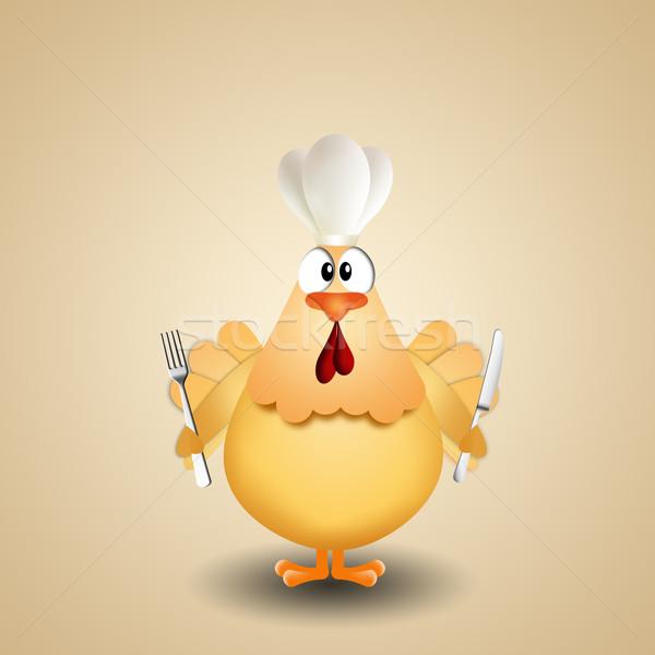 鶏 カトラリー シェフ 帽子 実例 ホーム ストックフォト © sognolucido