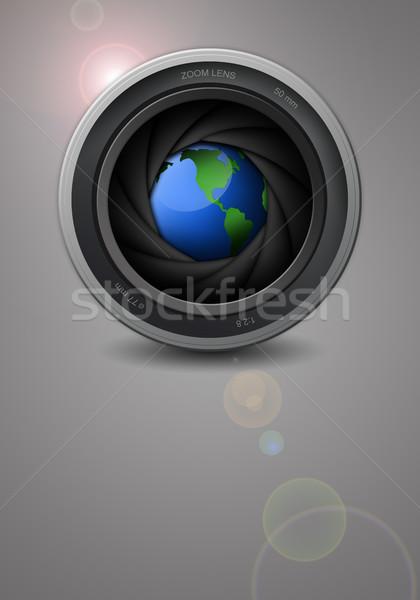 Illustration terre professionnels lentille caméra vidéo Photo stock © sognolucido