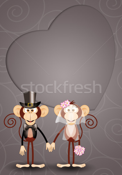 Majmok illusztráció friss házasok esküvő szeretet pár Stock fotó © sognolucido