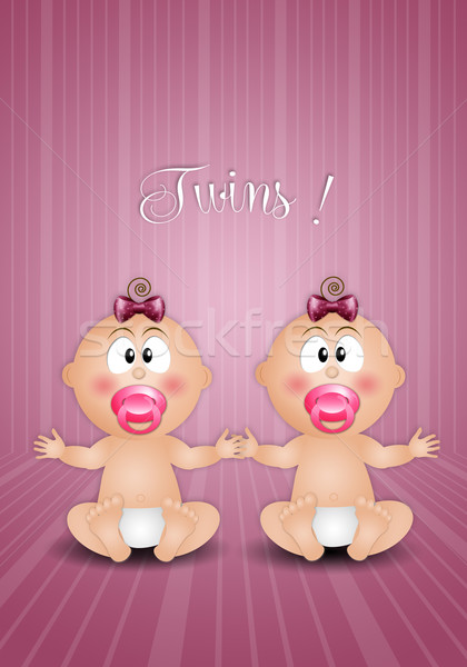 twin girls on pink background Stock photo © sognolucido