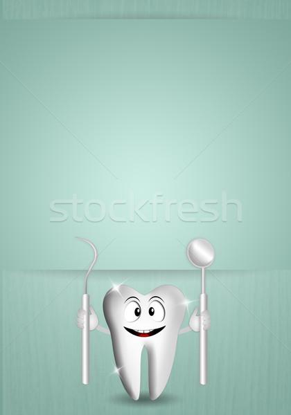 смешные зубов иллюстрация стоматолога инструменты улыбка Сток-фото © sognolucido
