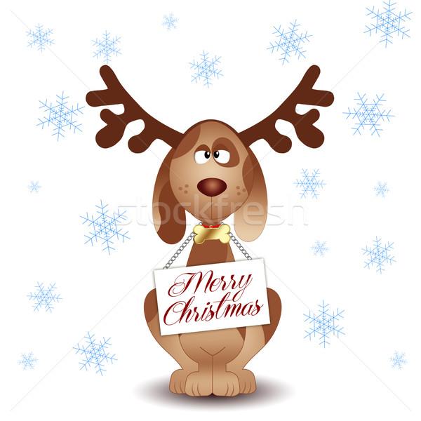 Engraçado cão rena ilustração natal Foto stock © sognolucido