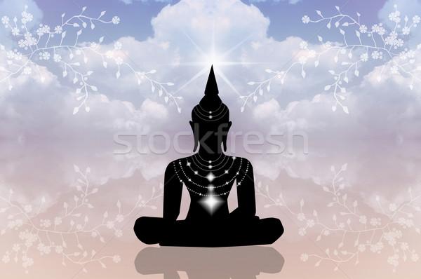 Buddha silhouette ciel illustration fleurs exercice Photo stock © sognolucido