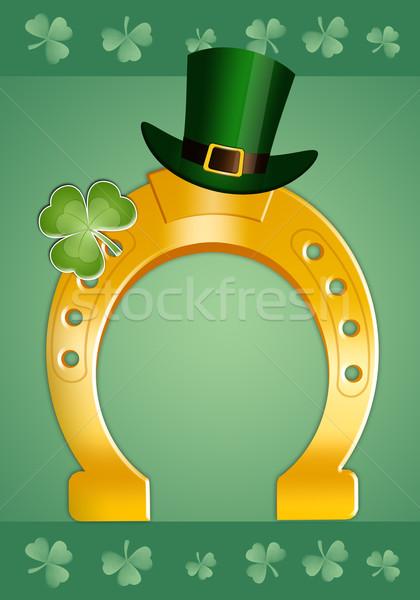 Gelukkig dag hoefijzer klaver St Patrick's Day Stockfoto © sognolucido