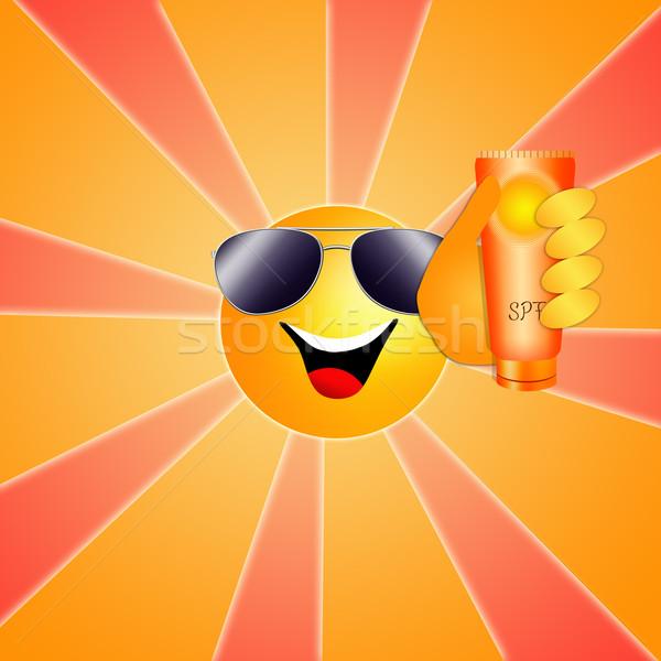 面白い 太陽 ローション 実例 日焼け止め剤 ビーチ ストックフォト © sognolucido