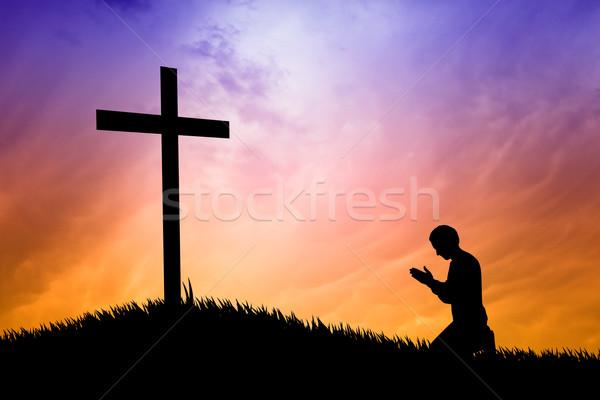 男 祈っ クロス 実例 イースター 聖書 ストックフォト © sognolucido