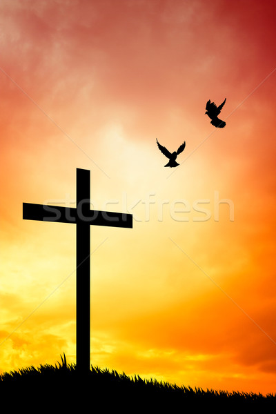 Cross silhouette at sunset Stock photo © sognolucido