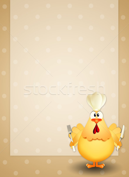 Chicken with chef's hat Stock photo © sognolucido