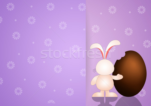 Tavşan çikolata yumurta iyi paskalyalar Paskalya bahar Stok fotoğraf © sognolucido