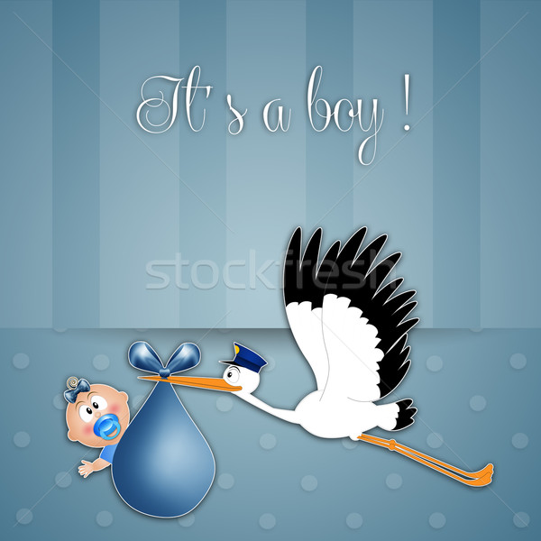 stork with baby boy Stock photo © sognolucido