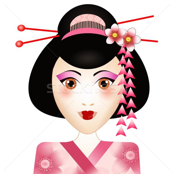 Gésa portré fehér nő arc ázsiai Stock fotó © sognolucido