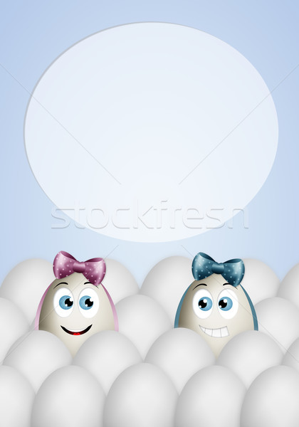 面白い 卵 イースター 花 葉 ストックフォト © sognolucido