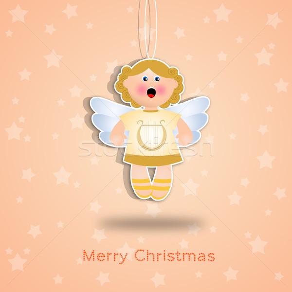 クリスマス 陽気な 背景 天使 天国 漫画 ストックフォト © sognolucido