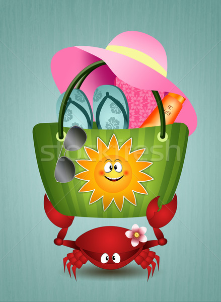 Funny crab with beach bag Stock photo © sognolucido