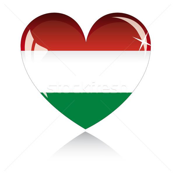 Vektor szív Magyarország zászló textúra izolált Stock fotó © SolanD