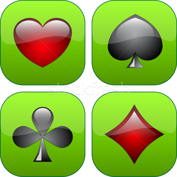 Stockfoto: Vier · glanzend · knoppen · iconen · suits · eps10